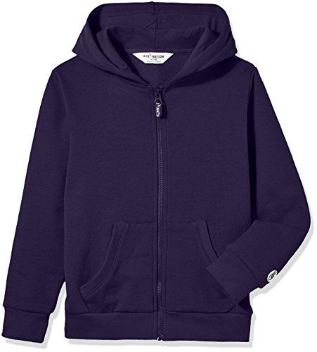 (Kid Nation Kids' Soft Brushed Fleece Zip-Up Hooded Sweatshirt Hoodie for Boys or Girls XL Navy)