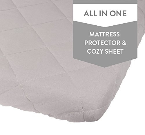 Waterproof Cotton Quilted Pack n Play Sheet | Mini Crib Sheet | All in one Mattress Pad Cover and Cozy Sheet , Grey by Ely's & Co