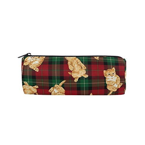 - Round Pencil Case Bag Cat Plaid Multi Function School Supplies Organizer Pouch Bag with Zipper Closure