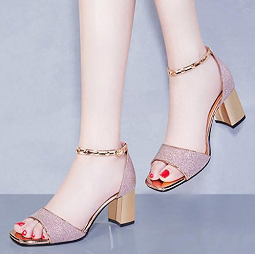Sandals Ms. Thick with Summer Shoes Wild Korean High Heel Sandals Flat Sandals,Fashion sandals (Color : A, Size : 38) B