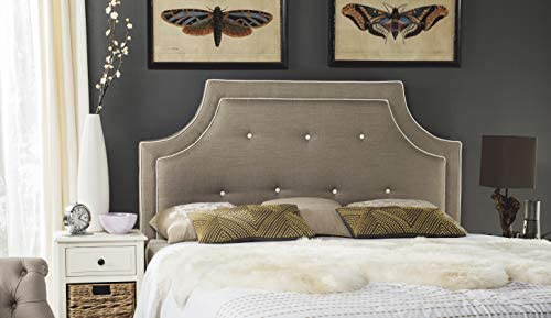 Safavieh Mercer Collection Tallulah Light Oyster Arched Tufted Headboard