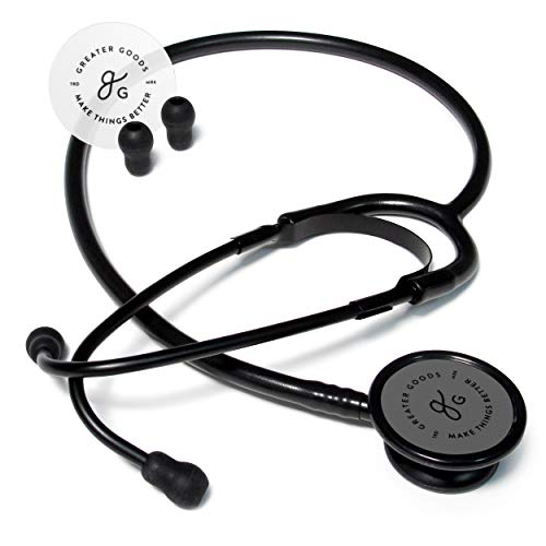 GreaterGoods Dual-Head Stethoscope, Designed for Basic at Home, Routine Physical Assessing Heart and Lung Examinations (Matte Black, Aluminum)