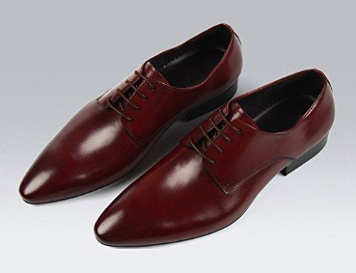 Zapatos Clásicos de Piel para Hombre Zapatos de cuero de estilo británico Zapatos de hombre transpirable Zapatos de novio de negocios puntiagudos ( Color : Negro , Tamaño : EU40/UK6.5 ) Marrón