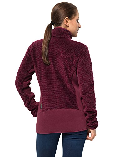 Di Donna Pile Women Fleecejacke Wolfskin Garnet Rot Leaf Stripes Pine Jacket AtmungsaktivGiacca Jack hrdCtsQ