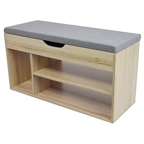 Quelife Wood Shoe Storage Rack Simple Modern Stool Sofa Shoe Bench Maple Cherry Wood - 80x30x45cm ()