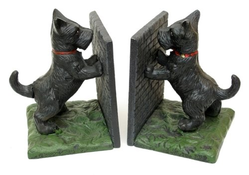 Puppy Bookends - Iron Bookends Dog Statue Sculpture Puppy Book Support Figure Ornament Heavy Duty Metal Non Skid Decorative Figurine Home Accent Set