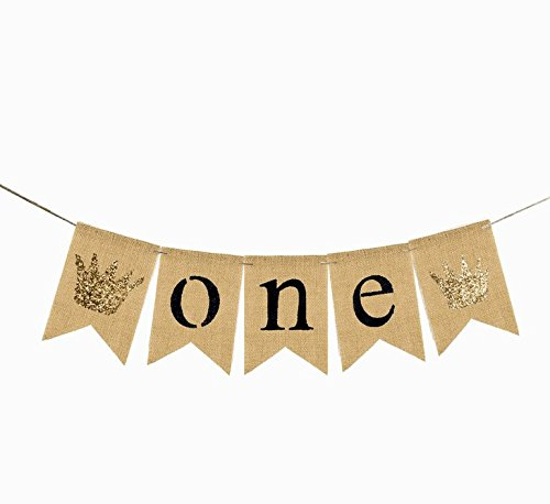 EBTOYS One Banner First Birthday Party Decorations 1st Birthday Burlap Pary Banner Garland for Boy, Girl ,Twins (Brown) ()