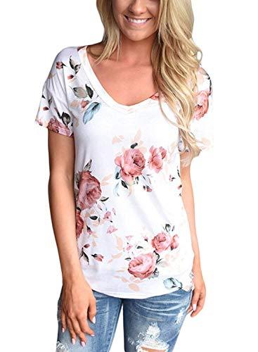 Sciolto Bianca Camicetta Libero Bluse Donna Tunica Estivi Ragazza Corta Leggero Tempo Modello Manica Moda V Neck Fiore Shirts Chic Maglietta 4vw1pq