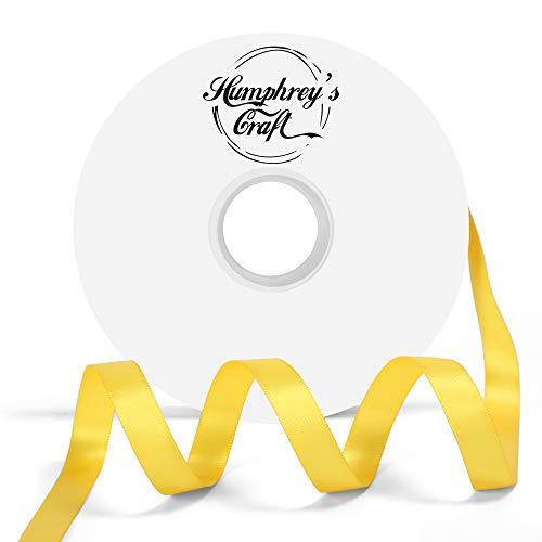 Humphrey's Craft 1/2-inch Double Face Solid Satin Ribbon 100% Polyester Ribbon Roll-50 Yard (Daffodil -