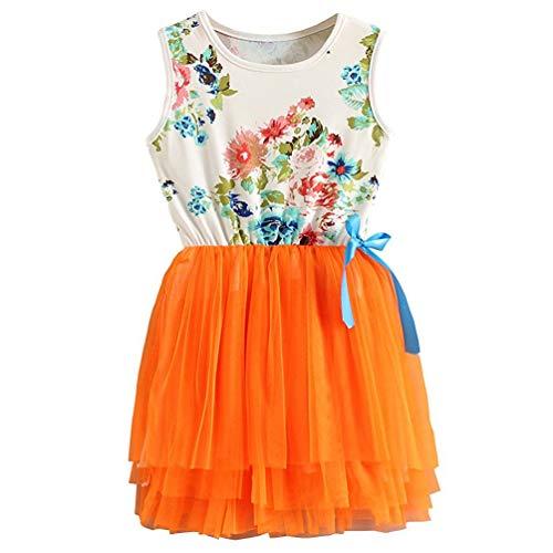 JNKLWPJS Baby Girls Cute Sleeveless Floral Sundress Tulle Tutu Skirt Tank Orange Dress 5 Years
