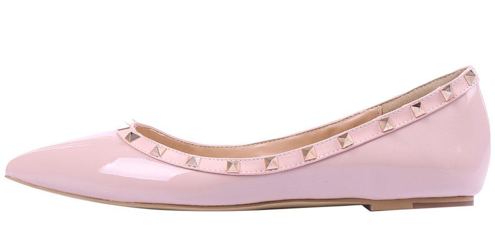 AOOAR Damen Schuhe Mit Rosa Nieten Ballerinas Rosa Mit Lackleder 4eed2b