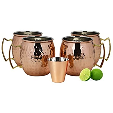 A29 Moscow Mule 100 % Solid Pure Copper Mug / Cup (16-Ounce/Set of 4, Hammered), Nickel Lined, with BONUS Shot Glass and Free Recipe Booklet