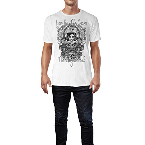Sinus Art ® Herren T Shirt Long Live the Queen ( SchwarzWeiss ) Crewneck Tee with Frontartwork