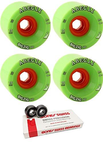 ABEC 11 75mm BigZig HD ロングボード スケートボードホイール ボーンベアリング付き - 8mm ボーンズ スイス スケートボード ベアリング - 2点セット   B07HNXD1RH