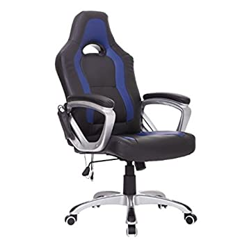 HomCom Race Car Style PU Leather Heated Massaging Office Chair   Blue