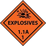 NMC DL88ALV 4'' x 4'' Dot Shipping Label - ''Explosive 1.1A -1'', PS Vinyl, 4 Rolls of 500 pcs