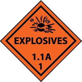 NMC DL88ALV 4'' x 4'' Dot Shipping Label - ''Explosive 1.1A -1'', PS Vinyl, 4 Rolls of 500 pcs by National Marker
