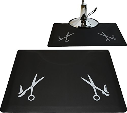 LCL Beauty 1/2'' Rectangle Anti Fatigue Beauty Barber Floor Mat with Grey Salon Scissor Design by LCL Beauty