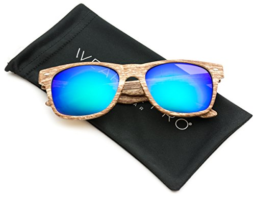 Faux Wood Print Reflective Revo Color Lens Horn Rimmed Sunglasses Light Wood Print / Mirror Green