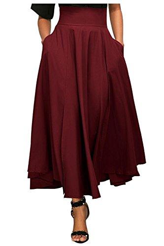 Kumer Women's High Waist Long Skirt Pleated A Line Swing Skirt Front Slit Belted Maxi Skirt, Red, Large