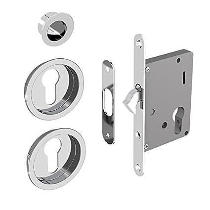 Cerradura Set para puertas correderas, adecuado para cilindro Yale, Plata cromado (sin cilindro