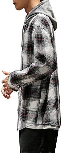 [YACORESYA(夜行列車)] メンズ シャツ チェック柄 ジャケット チェックシャツ フード付き パーカー ボタンアップ アウター 大きいサイズ カジュアル 秋 春