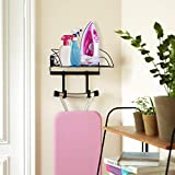 SRIWATANA Ironing Board Hanger Wall Mount, Iron and Ironing Board Holder with Storage Basket
