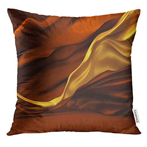 (Emvency Throw Pillow Cover Beautiful of Chocolate and Caramel Colors with Developing The Wind Yellow Ribbons Coffee Colored Decorative Pillow Case Home Decor Square 18x18 Inches Pillowcase)