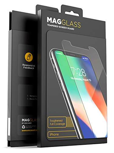MagGlass (Ionic-Compression) Flexible Tempered Glass for Apple iPhone Xs MAX Screen Protector (Case Friendly, Extreme Protection) (2018)