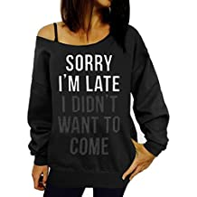 Guandiif Womens Black Sweatshirt Casual Off Shoulder Sweatshirt Pullover Letter Printed Shirts Top