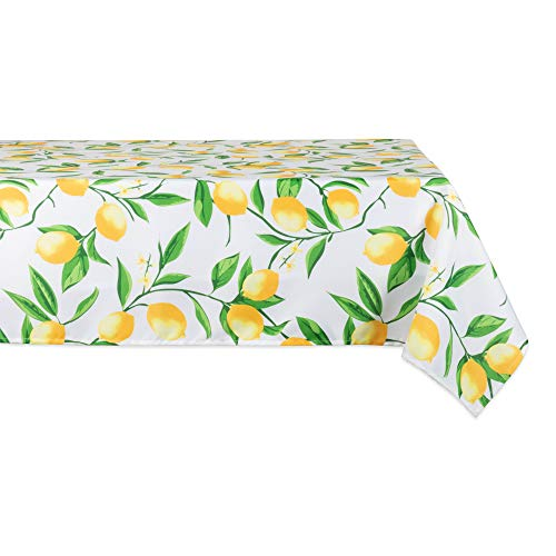 (DII CAMZ11290 Spring & Summer Tablecloth, Spill Proof and Waterproof for Outdoor or Indoor Use, Host Backyard Parties, BBQs, Family Gatherings - (Seats 6 to 8) 60x84 Lemon Bliss )