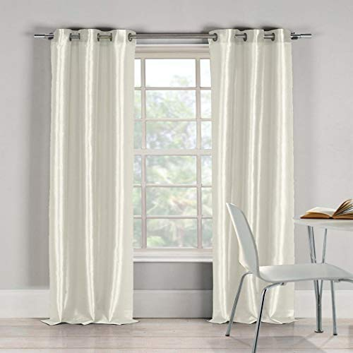 Duck River Textiles Bali Faux Silk Grommet Top Window Curtain 2 Panel Drape, 38