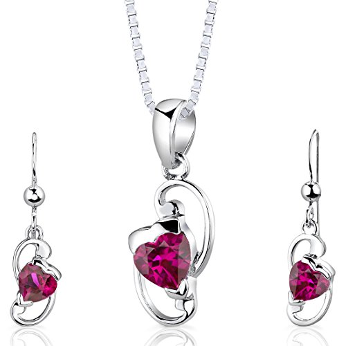 (Sterling Silver Rhodium Nickel Finish Heart Shape Created Ruby Pendant Earrings and 18 inch Necklace Set)