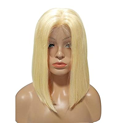 Smartinnov Human Hair Wig Glueless #613 Blonde Bob Lace Front Wig 10inch Straight Short Cut Peruvian Virgin hair Wig 180% Density Blonde Bob Middle Part for Women(could be restyle)