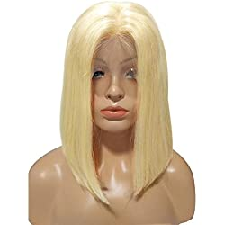 "Licoville 613 Bob Lace Front Wig Human Hair Pre Plucked 12"" Short Straight Bob Wig 180% Density Middle Part Thick Blonde Lace Wigs for Women, Adjustable Cap(Can be Styled)"