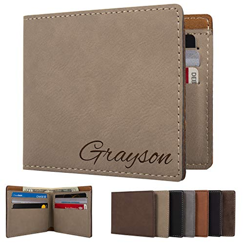 (Personalized Mens Wallet - Leather Engraved Bifold Wallets for Man | Beige)