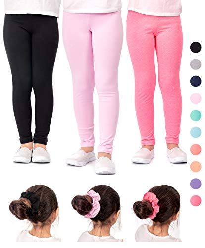 DEAR SPARKLE Girls Leggings 3 Pack Cotton Solid Colors + Matching Elastic Hair Ties   Sizes 3-10 (9-10, Black/Pink/Pink2) -