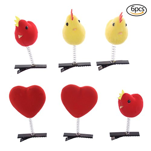 3 Pairs Super Cute Hairpin Kawaii Chick Hair Clips Heart Bar