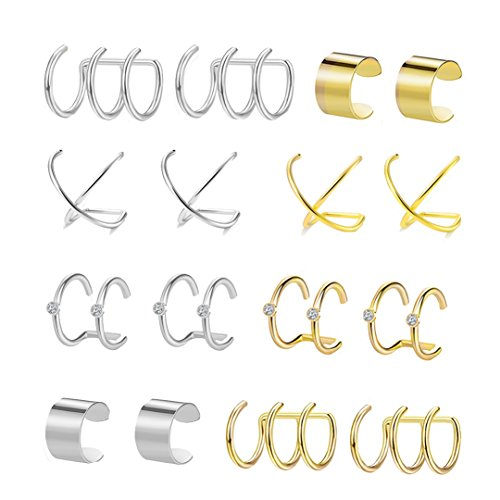 FIBO STEEL 8 Pairs Ear Cuffs Earrings for Women Girls Non-piercing Fake Cartilage Earring by FIBO STEEL