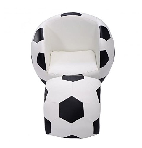MD Group Kids Sofa Football Shaped Couch Light-weight Sponge & PVC with Ottoman Furniture