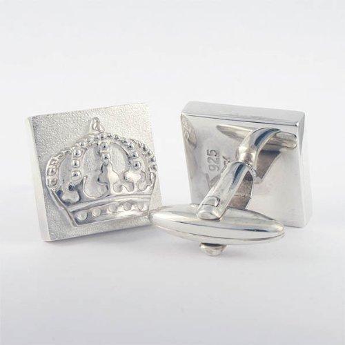 ZAUNICK Square Crown Cufflinks Sterling Silver