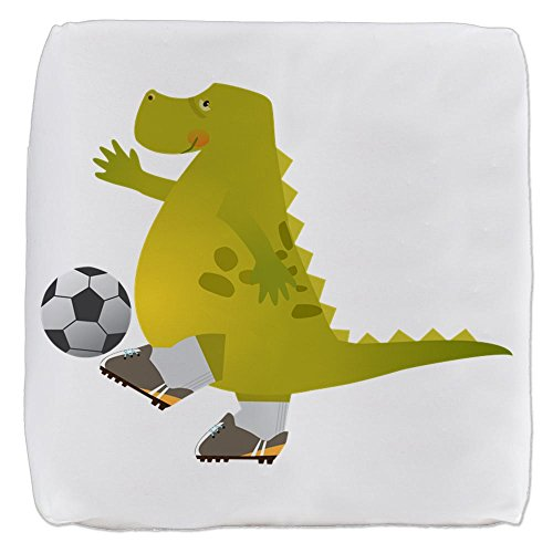 18 Inch 6-Sided Cube Ottoman Dinosaur Playing Soccer by Truly Teague