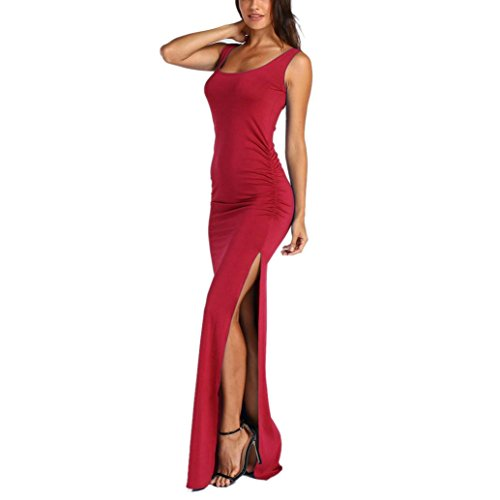 Courte Sexy Robes dt Split Poche Manches Robes Internet de A avec Longue Rouge Femmes Boho wCrInqrX
