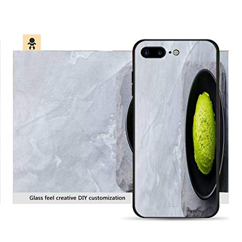 iPhone 7p / 8p Ultra-Thin Phone case Green Tea Matcha ice Cream Scoop in Black Bowl on a Grey Stone Background Copy Space Top View Resistance to Falling, Non-Slip, Soft, ()