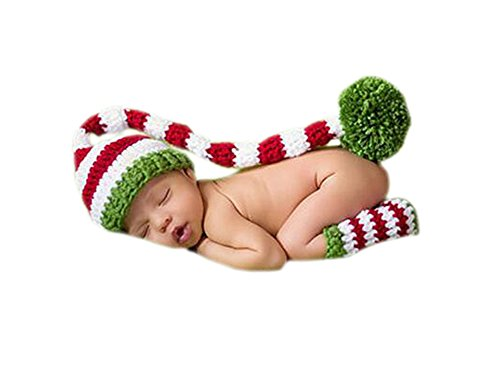 Baby Elf Outfits For Christmas (Hwafan Baby Crochet Knit Christmas Elf Long Tails Pompom Hat Leg Warmmer Photo Props)