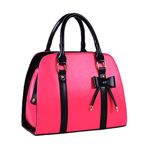 Catkit Vintage OL Style Womens Bowknot Tote Handbag Shoulder Bag Briefcase Hot Pink