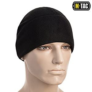 M-Tac Winter Hat Windproof Fleece 380 Mens Watch Cap Military Skull Cap Beanie (Black, Small)