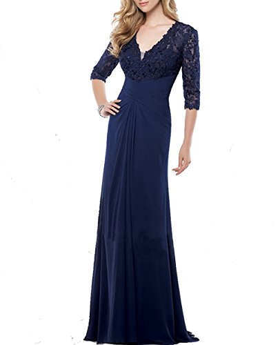 VaniaDress Women V Neck Lace Long Evening Dress Mother Of The Bride Gown V233LF Navy Blue US10 from VaniaDress