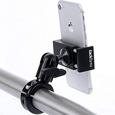 Metal Motorcycle Mount for Phone - by TACKFORM [Enduro Series] - NO SLINGS NEEDED. Rock solid holder for Regular and Plus sized iPhone and Samsung devices. Industrial Spring Grip by TFEN-BIKE