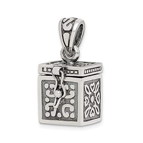 - 925 Sterling Silver Square Prayer Box Pendant Charm Necklace Religious Book Fine Jewelry Gifts For Women For Her